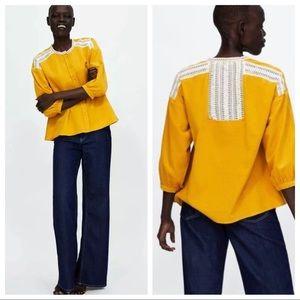 Zara Mustard Yellow Corduroy Blouse -Size XS